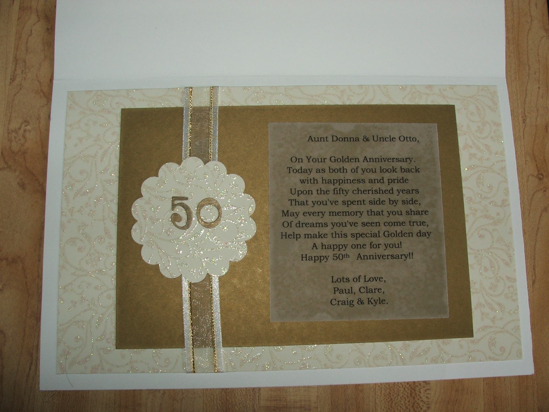 50th Wedding Anniversary Gifts Diy : 50th Anniversary Card (Inside)